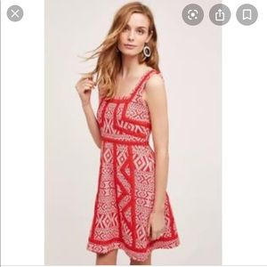 Anthropologie maeve Emma dress red lace